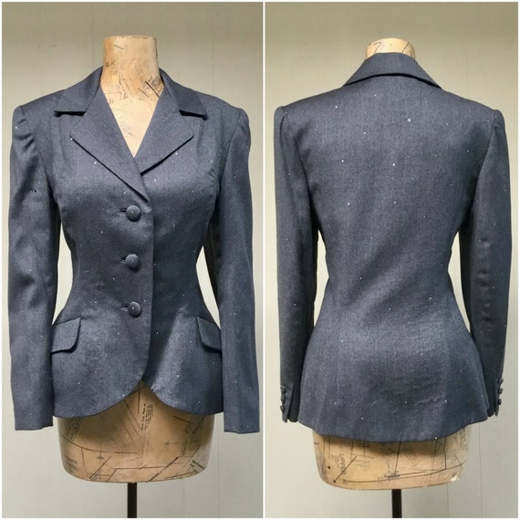 Vintage 1980s TRAVILLA Gray Wool Jacket, 80s does… - image 1