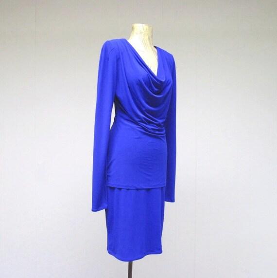 Vintage 1980s Norma Kamali Cobalt Blue Jersey Top… - image 2