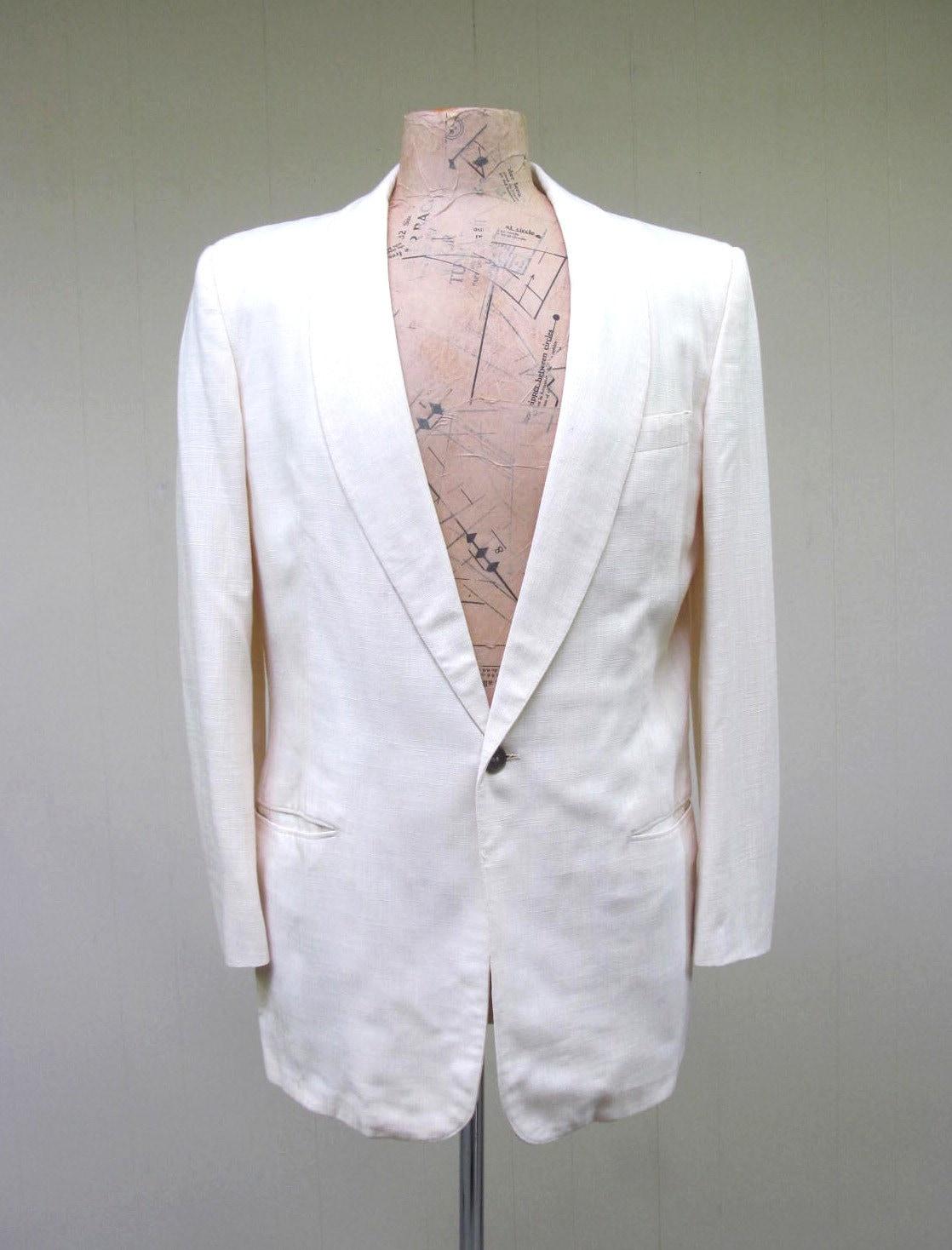 ab52d6dcb067d Vintage 1960s Dinner Jacket 60s Ivory Linen Blend After Six
