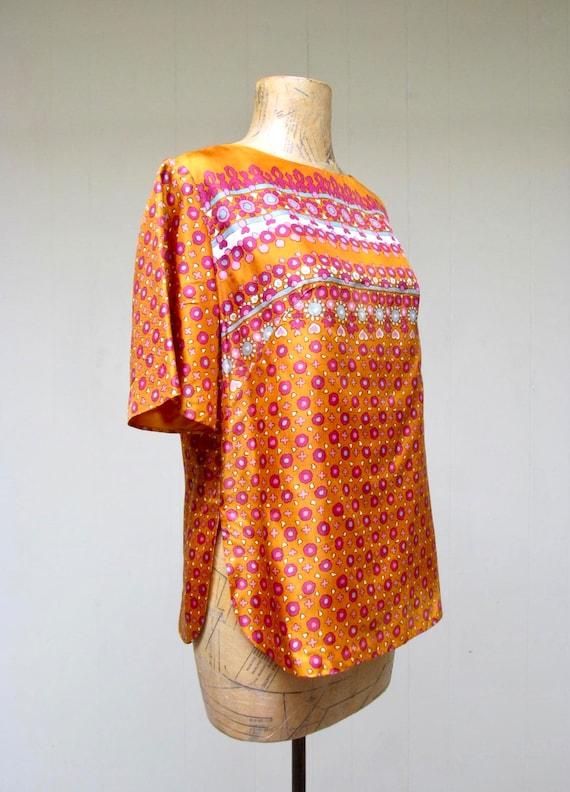 Vintage 1960s Blouse, 60s Orange Satin Alex Colma… - image 2