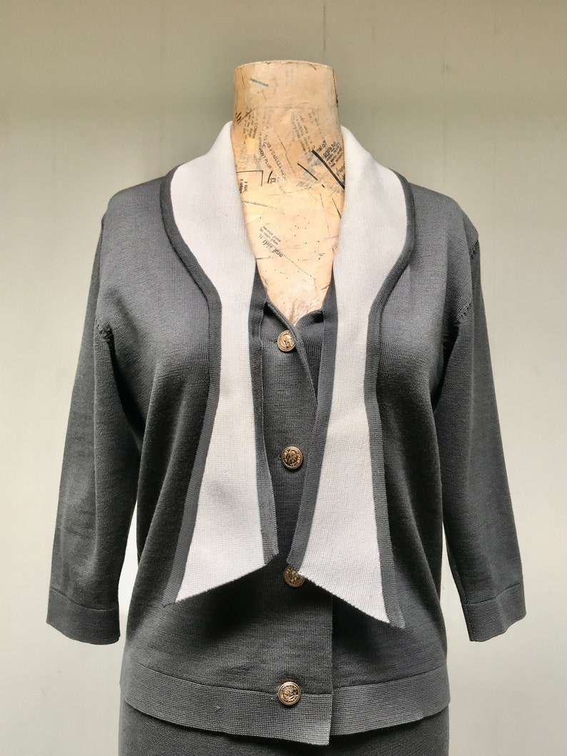 Mid-Century Italian Knit Ensemble Small-Medium Vintage 1950s Gray Knit Skirt Suit 50s Amalfi Charcoal Wool Top and Pencil Skirt Set