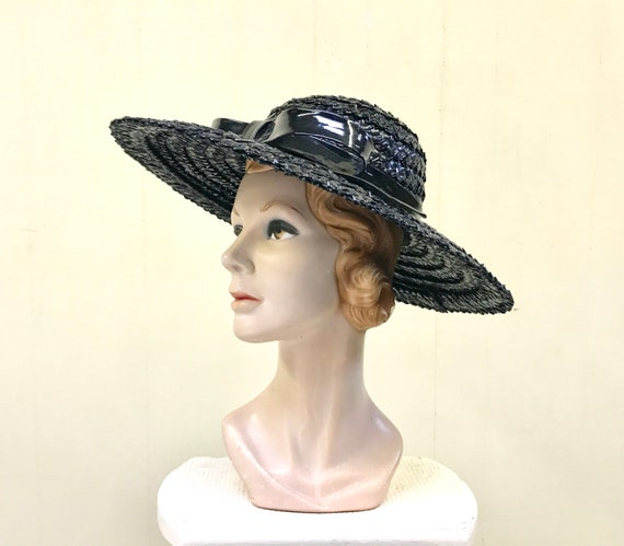 Vintage 1960s Black Wide Brimmed Straw Hat, 60s Eb