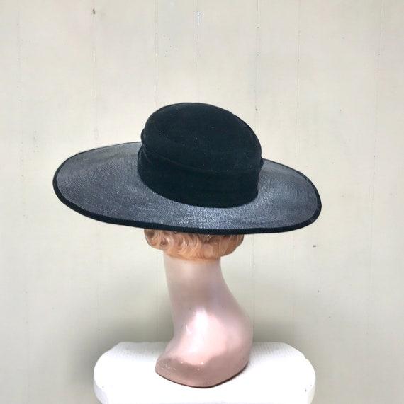 Vintage 1950s Picture Hat, 50s Black Straw Velvet… - image 5