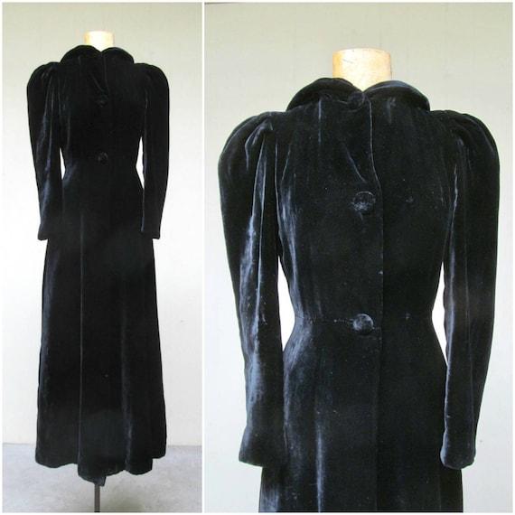 Vintage 1940s Opera Coat, Black Silk Velvet Hooded