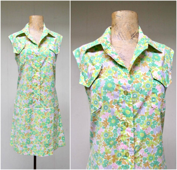 Vintage 1960s Scooter Dress, 60s Mod Shirtdress, C