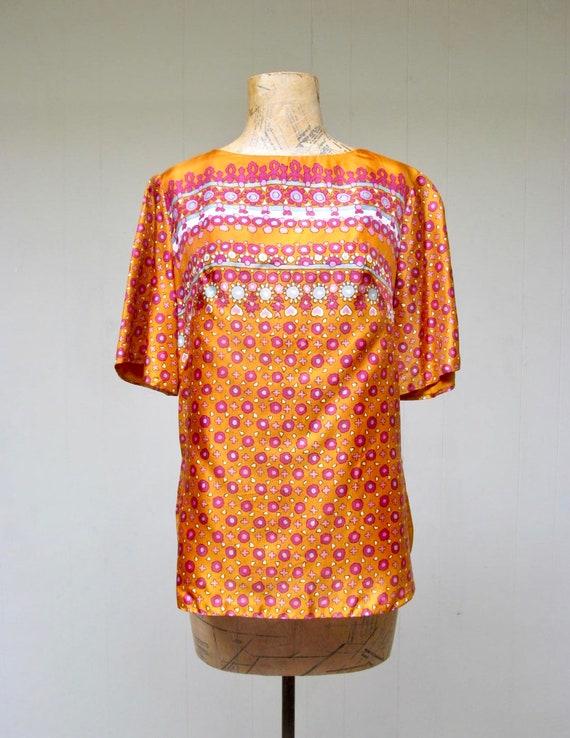 Vintage 1960s Blouse, 60s Orange Satin Alex Colman