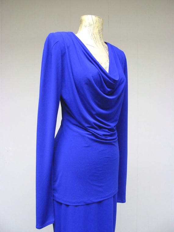 Vintage 1980s Norma Kamali Cobalt Blue Jersey Top… - image 4