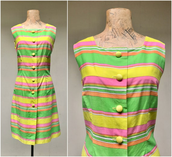 Vintage 1960s Mod Striped Cotton Scooter Dress, 60