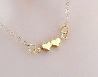 Double Heart Necklace, Delicate Necklace, Dainty Necklace, Simple Necklace, Small Necklace, Friendship Necklace, rose gold, Silver, Gold,bff