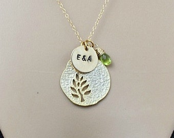 Personalized Tree Necklace, Initial Necklace, Birthstone Necklace, Mothers Necklace, Initial Jewelry, Mom Gift, three initial, Gold, Silver