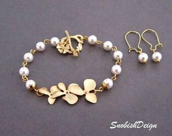 Flower Jewelry Set, Orchid Bracelet, Flower Bracelet, Pearl Bracelet, Wedding set, Wedding Bracelet, Bridal Bracelet, Bridal Set,Gold,silver