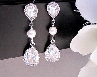 Wedding Earrings, Crystal Earrings, Statement Earrings, Cubic Zirconia, CZ Earrings, Bridal Jewelry, Mother of Bride, Drop Earrings, Post