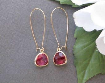Ruby Earrings, Dainty Minimalist Earrings, Simple Minimal Earrings, Everyday Earrings, Bridesmaid Earrings, Minimalist Jewelry,Long Earrings