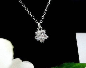 Dainty Necklace, Cubic Zirconia Necklace, CZ Necklace, Bridesmaid Necklace, Gift for Her, Delicate Necklace, Bridal Necklace,Womens jewelry