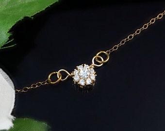 Minimalist Necklace, Gold Necklace, Delicate Necklace, Dainty Necklace, CZ Necklace, Tiny Necklace, April Birthstone, Crystal,Cubic Zirconia