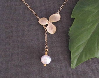 Orchid Necklace, Flower Necklace, Minimal Necklace, Delicate Necklace, Dainty Necklace, Pearl necklace, Simple Necklace, Bridesmaid jewelry,