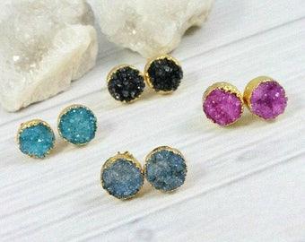 Druzy Earrings, Gemstone Earrings, Stone Earrings, Raw Crystal Earrings, Bridesmaid Earrings, Druzy Studs, Gold, Pink, Blue, Black, Teal,