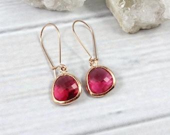 Ruby Earrings, Rose Gold Earrings, Dainty Earrings, Minimalist Earrings, Everyday earrings, Small Earrings, Simple Earrings, Silver, Gold