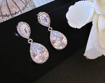 Cubic Zirconia Earrings, Bride Earrings, Crystal Earrings, CZ Earrings, Drop Earrings, Bridal Earrings, Wedding Earrings, Bridal Jewelry,