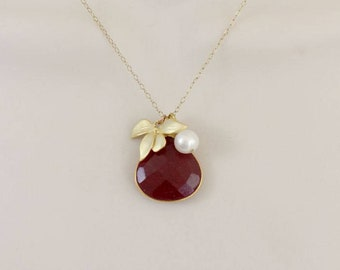 Ruby Necklace, Flower Statement Necklace, Gemstone Necklace, Gold Initial Necklace, Orchid Necklace, July birthstone jewelry, Pendant