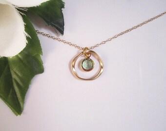 Birthstone Necklace, Circle Necklace, Minimalist Necklace, Everyday Necklace, Peridot Necklace, August Birthstone Jewelry, Gold, Silver,