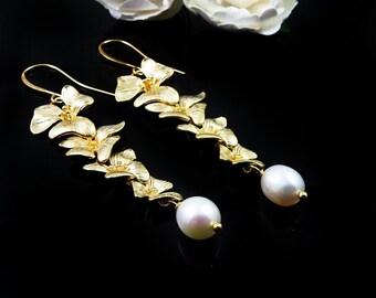 Orchid Earrings, Flower Earrings, Pearl Earrings, Extra Long Earrings, Statement Earrings, Wedding Jewelry, Wedding Earrings, Bridal Jewelry