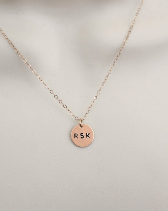Rose Gold Initial Necklace Circle Tag Necklace 3 Initial  6978d3391