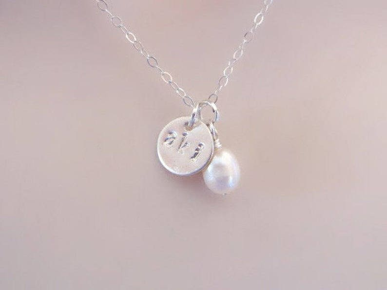 83e64f01ffb9 Sterling Silver Three Initial Necklace Custom Hand Stamped