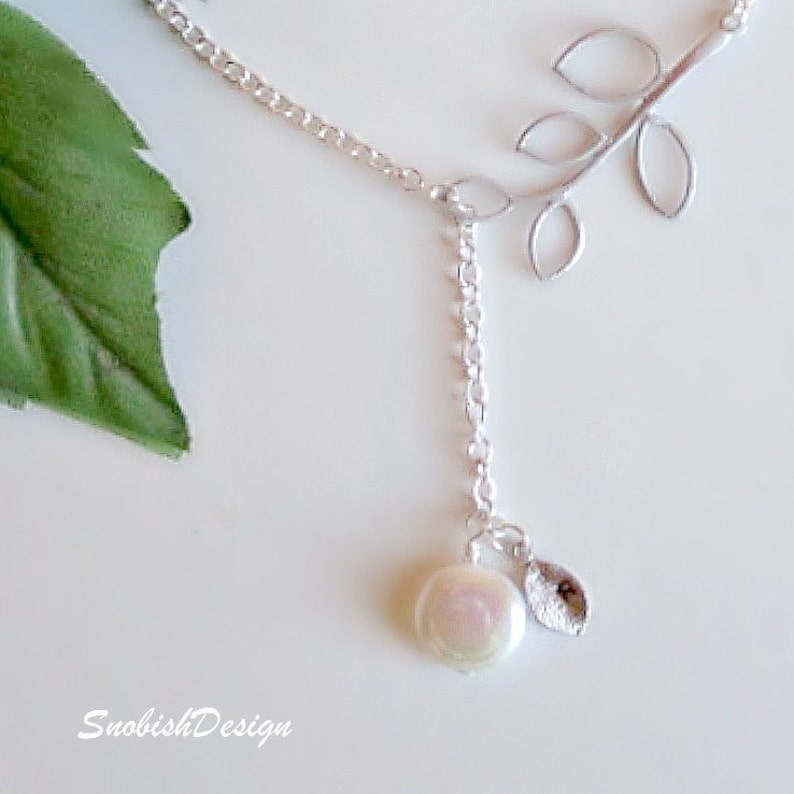 Leaves Necklace Bridal Necklace Leaf Necklace Freshwater Pearl Necklace Bridesmaid Necklace Wedding Jewelry Initial Necklace Lariat
