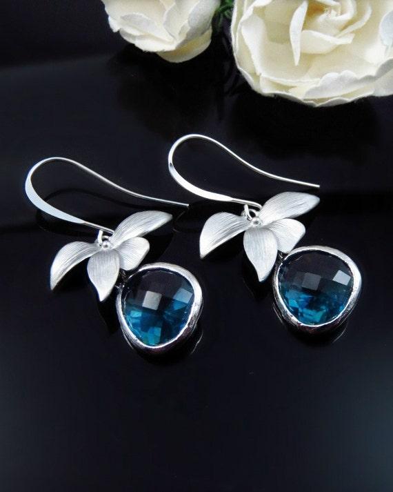 Sapphire Earrings Orchid Earrings Drop Earrings Bride | Etsy
