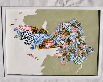 County Galway map art | acrylic painting | custom gift idea