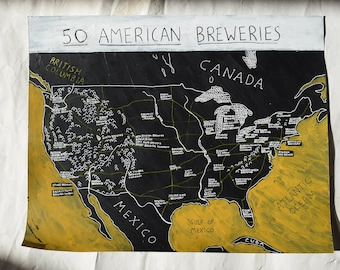 United States Beer Map | custom birthday gift for beer geeks | USA Brewery Map | beer lover gift idea | beer painting | 50th Birthday