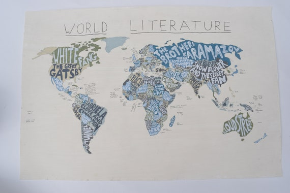 Literature Map Of The World.World Literature Map Book Lover Gift Hand Painted Pastel Etsy