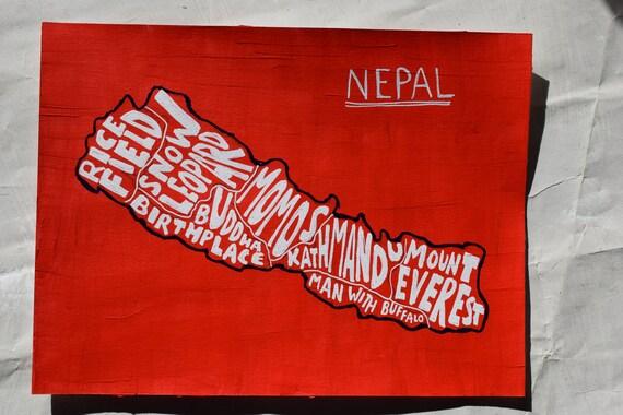 Nepal: flag inspired map art