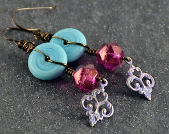 Garden of Love, Turquoise Lampwork Beads, Pink Violet Patina Earrings, Trinity Natural Brass Charms, Wire Wrapped Earrings, Bohemian Jewelry