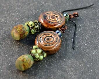 Primitive Bohemian Chic Earrings  Gypsy Earthy Earrings Brown Green Earrings
