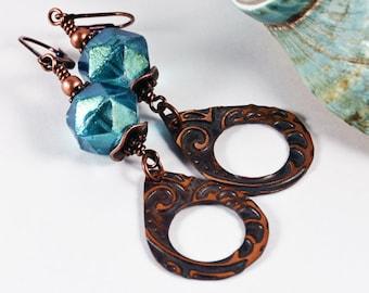 Capri Blue Copper Bohemian Beach Side Earrings Boho Chic Summer Jewelry