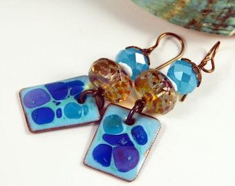 Blue Skies, Copper Enameled, Bohemian Chic Earrings, Gypsy Hippie Earrings, Boho Jewelry, Champagne Blue Earrings, Dangle Earrings