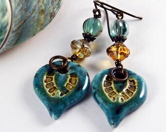 Gypsy Rustic, Bohemian Chic, Ceramic Charms Wire Wrapped Earrings, Czech Glass Earrings