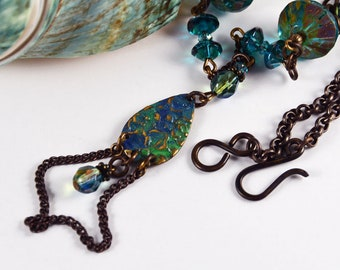 Ocean Waves, Summer Necklace, Gypsy Chic Necklace, Bohemian Elegant Beaded Jewelry, Patinated Vintaj Charms