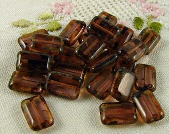 Czech Glass Beads Amethyst Picasso 8x12mm- 10 Beads