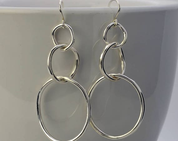 Sterling Silver Circle Earrings Hammered Dangle Earrings, Drop Earrings, Boho Silver Earrings for Everyday Jewelry - Birthday Gift for Her