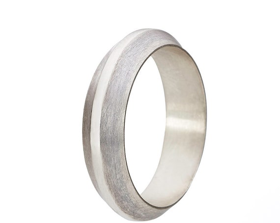Modern Men's Wedding Band - Wide Knife Edge Sterling Silver Ring Handmade Classic Beveled Edge Wedding Bands for Men Smoky Gray Finish