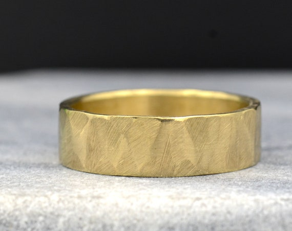6mm Wide Men's Ring in Recycled 14k Yellow Gold, Eco Friendly Manly Bands