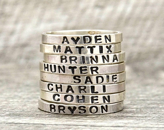 Personalized Name Ring in Sterling Silver, Gift for Her