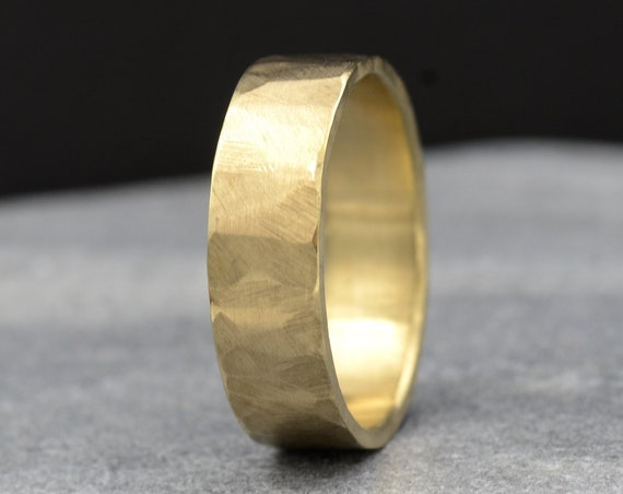 14k Yellow Gold Men's Wedding Band 6mm, Forged by Hand Manly Bands, Recycled Gold Sustainable Wedding Ring
