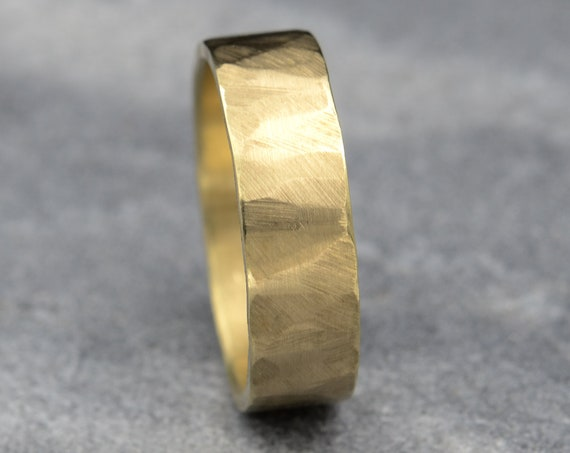 6mm Gold Wedding Band , 14k Gold Men's Wedding Band, Recycled Yellow Gold Sustainable Ring