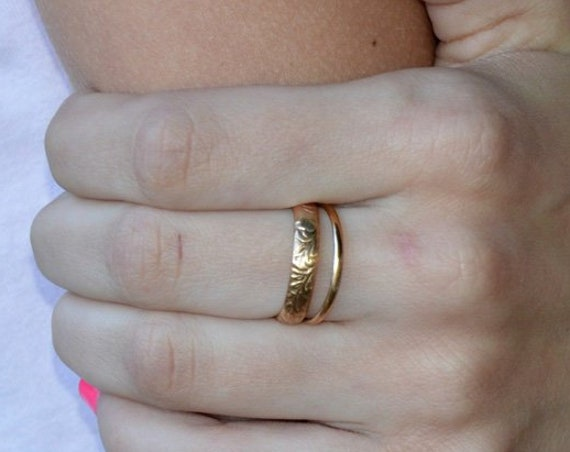 Womens Gold Wedding Band - Solid 14K Gold Ring Engraved Patterned Woman's Ring or Men's Band -  Gold Anniversary Band 14k Boho Stacking Ring