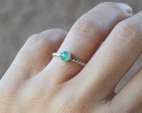 Emerald Birthstone Ring in Sterling Silver