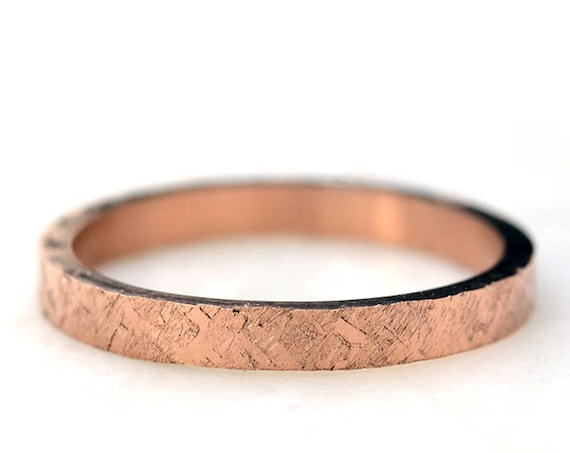 Rose Gold Wedding Ring for Women Hammered Engagement Ring in 14k Rose Gold or White Gold or Yellow Gold Ring Stacking Rings